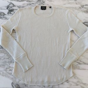 7 For All Mankind Cream Net Knit Long Sleeve Tee